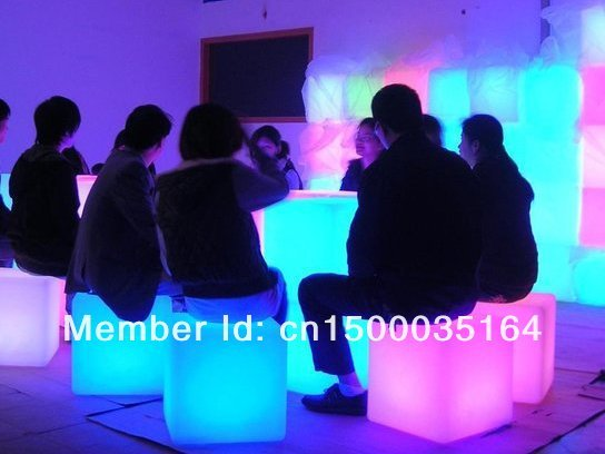3PCS Free Shipping led illuminated furniture,waterproof outdoor led cube 30*30CM chair,bar stools, LED Seat for Christmas BY EMS