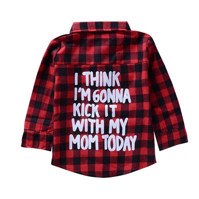 e1cbfeefdc77 Kids Baby Red Plaid Flannel Shirt Little Boys Girls Letters Print ...