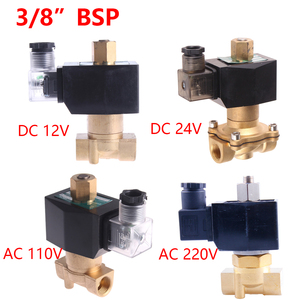 "Image 3 - 1/4 ""3/8"" 1/2 ""3/4"" 1 ""정상 개방 N/O 황동 전기 솔레노이드 밸브 12V 24V 220V 110V 물 오일 공기 연료 용 공압 밸브"