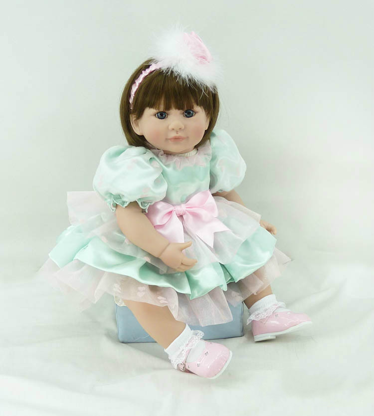 20inch Lovely Realistic Baby Reborn Doll for Girls Soft Vinyl Silicone Toys Dolls Short Hairstyle Kids Birthday New Year Gifts