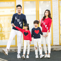 New arrival 2017 Family Matching Outfits Mom/Dad/Baby Love Long-Sleeve Cotton T shirts spring/autumn Family Clothing sets