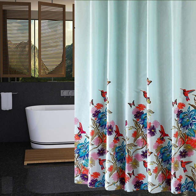 RUBIHOME Shower Curtain For Bathroom PEVA Thicken Waterproof Decor Red Blue Purple Flowers Green Leaves Bird With Hooks