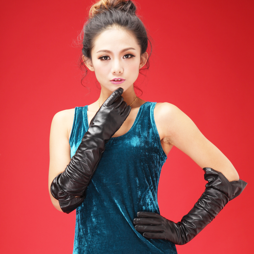 Long black leather gloves prices - 2016 Model Show Fashion Women Dress Party Best
