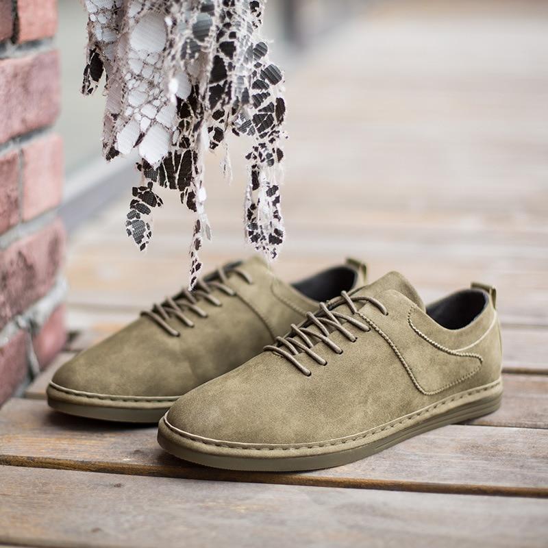 Sapatos 2018 Cinza Dos Lona Mão Oxford Retro Costura Primavera Homens Soft Couro verde A Vaca De Mocassins sola Nova Casuais RUqnEwd