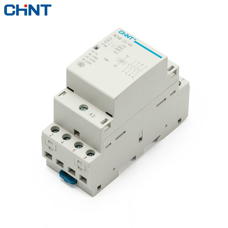 CHINT 220V Rail Type Four Normally Open 4P 25A Household Small Single - Phase AC Contactor NCH8-25/40 CHINT 220V Rail Type Four Normally Open 4P 25A Household Small Single - Phase AC Contactor NCH8-25/40