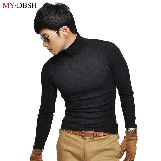 2018 fashion mens turtleneck high elastic t shirts spring for Turtle shirts for men