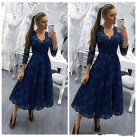 Long Sleeves Lace Prom Dresses 2019 Modest V Neck Short Formal Special Occasion Evening Party Gowns Modest Vestidos