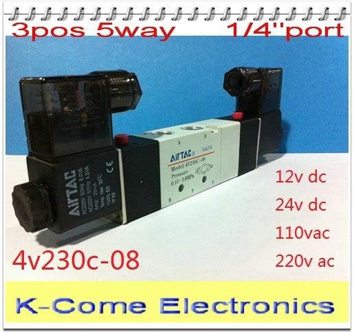 110V AC Solenoid Air Pneumatic Control Pilot Valve 3 Port 3 Way 2 Position 1//4 NPT