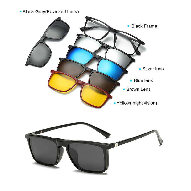 ac6be3327b0b7 ... 5+1 suit Multi function Clip On Sunglasses men Magnetic clip Sunglasses  women Magnet eyeglasses ...