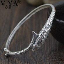 V.YA Thai Silber Vintage Armreifen Fisch Armbänder für Frauen 925 Sterling Silber Schmuck Einzigartige Toggle haken Design 56MM