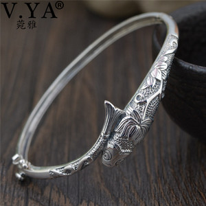Image 1 - V.YA Thai Silver Vintage Bangles Fish Bracelets for Women 925 Sterling Silver Jewelry Unique Toggle clasps Design 56MM