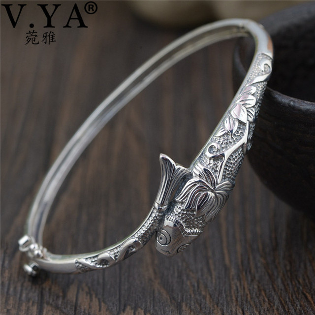 V.YA Thai Silver Vintage Bangles Fish Bracelets for Women 925 Sterling Silver Jewelry Unique Toggle clasps Design 56MM