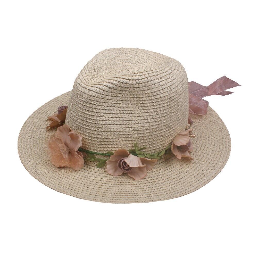 Summer Womens Flower Straw Hats Garland Ribbon Floral Cap Wide Brim Sun Beach Hat Fedora Trilby Hat White/Beige Chapeu Feminino