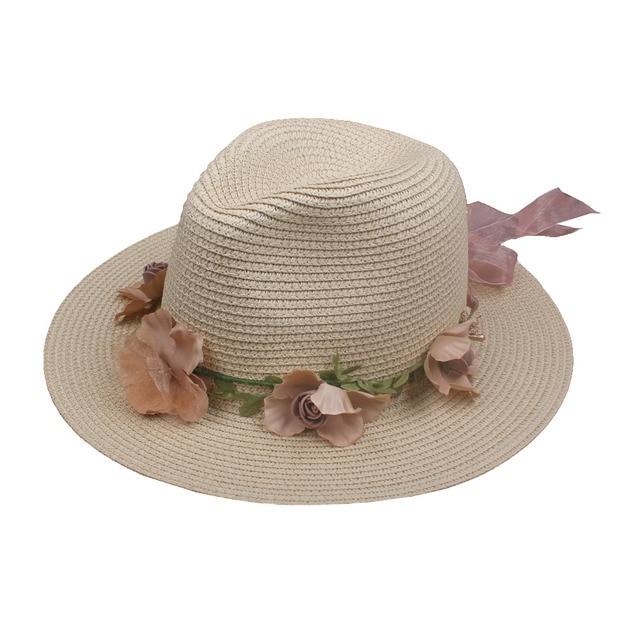 dd06a25807540 Summer Womens Flower Straw Hats Garland Ribbon Floral Cap Wide Brim Sun  Beach Hat Fedora Trilby Hat White Beige Chapeu Feminino