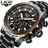 Alta Qualidade Relógio de Quartzo 2019 LIGE Militar Mens Relógios Top Marca de Luxo Relógio Do Esporte Homem Macho Grande Mostrador do Relógio À Prova D' Água relogio