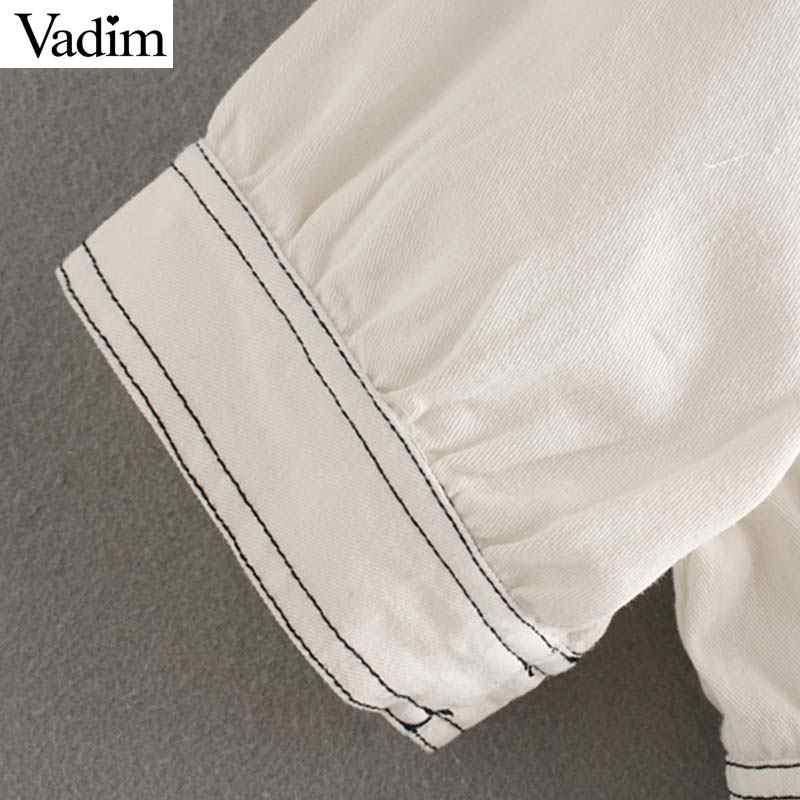 Женское элегантное платье vadim, однотонное джинсовое платье миди с v-образным вырезом, короткий рукав, однобортное Плиссированное женское повседневное ТРАПЕЦИЕВИДНОЕ ПЛАТЬЕ, QC328