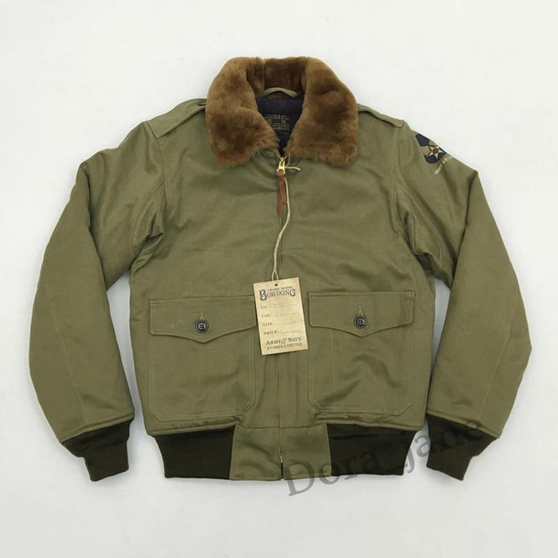 BOB DONG USAF Army B10 WW2 Polit B-10 Flight Bomber Jacket Military USAAF Mens Winter Wool Coat Fur Collar USAAF For Men XL