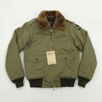 BOB DONG USAF Army B10 WW2 Polit B 10 Flight Bomber Jacket Military USAAF Mens Winter Wool Coat Fur Collar USAAF For Men XL