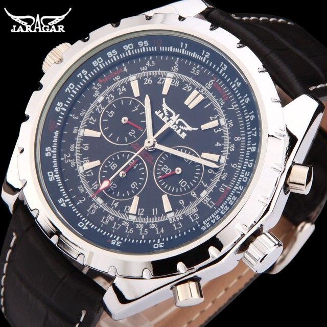 2c9ce2fd JARGAR автоматические механические часы для мужчин s календари платье  наручные модные пояса из натуральной кожи группа Colck