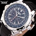JARGAR automatic mechanical watch mens calendar dress wristwatches men fashion genuine leather band colck
