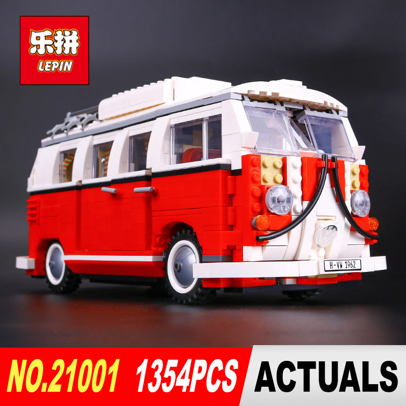New LEPIN 21001 1354Pcs Creator Volkswagen T1 Camper Van Model Building Kits Bricks Toys Compatible 10220 Gifts lightaling led light set compatible with brand camping van 10220 building model creator decorate kit blocks toys