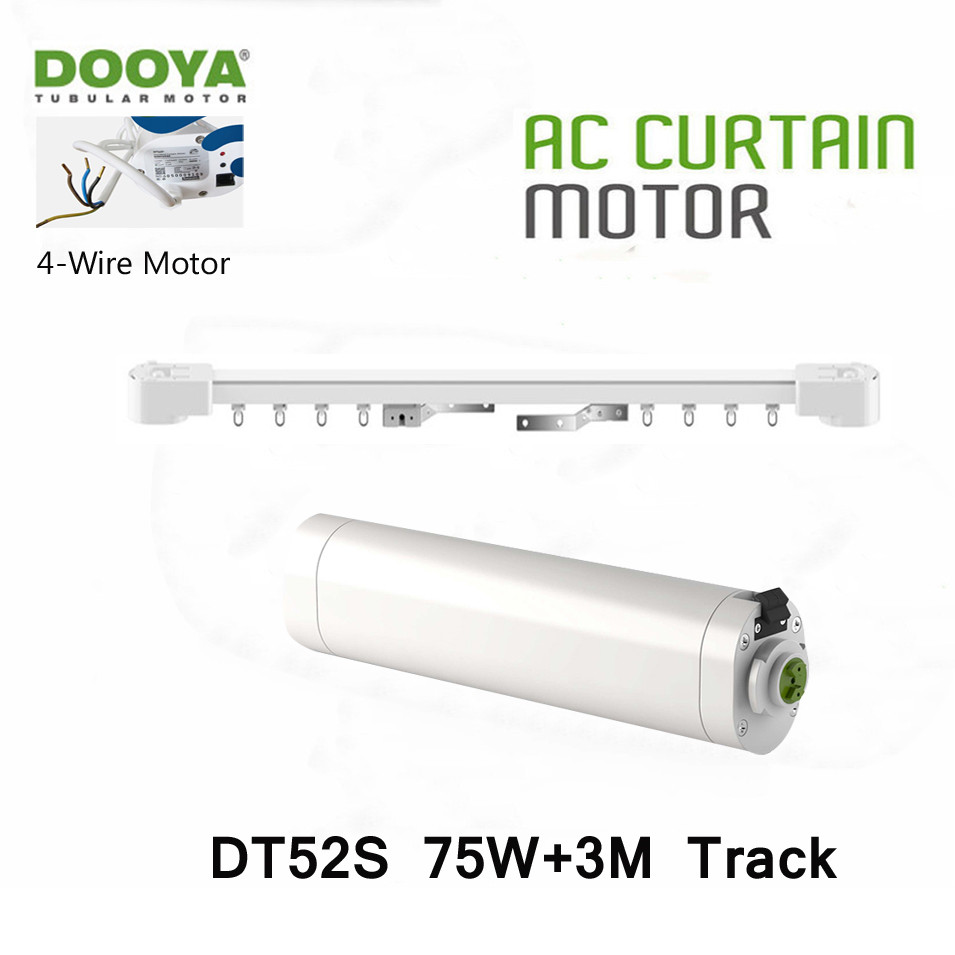 Dooya DT52S 75W 4 Wire Strong Motor+3M Track,Open Closing Window Motorized Curtain Rail,Special Project Motor,Automatic Curtain dooya dt52e electric curtain motor 220v 45w open closing window curtain track motor home automatic curtain motor for project