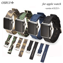OSRUI Nylon strap for apple watch band 44mm 40mm 42mm 38mm iwatch series 4 3 2 1 Camouflage canvas bracelet wrist belt watchband sport nylon strap for apple watch 4 band 44mm 40mm correa iwatch series 3 2 1 42mm 38mm camouflage canvas wrist bracelet belt