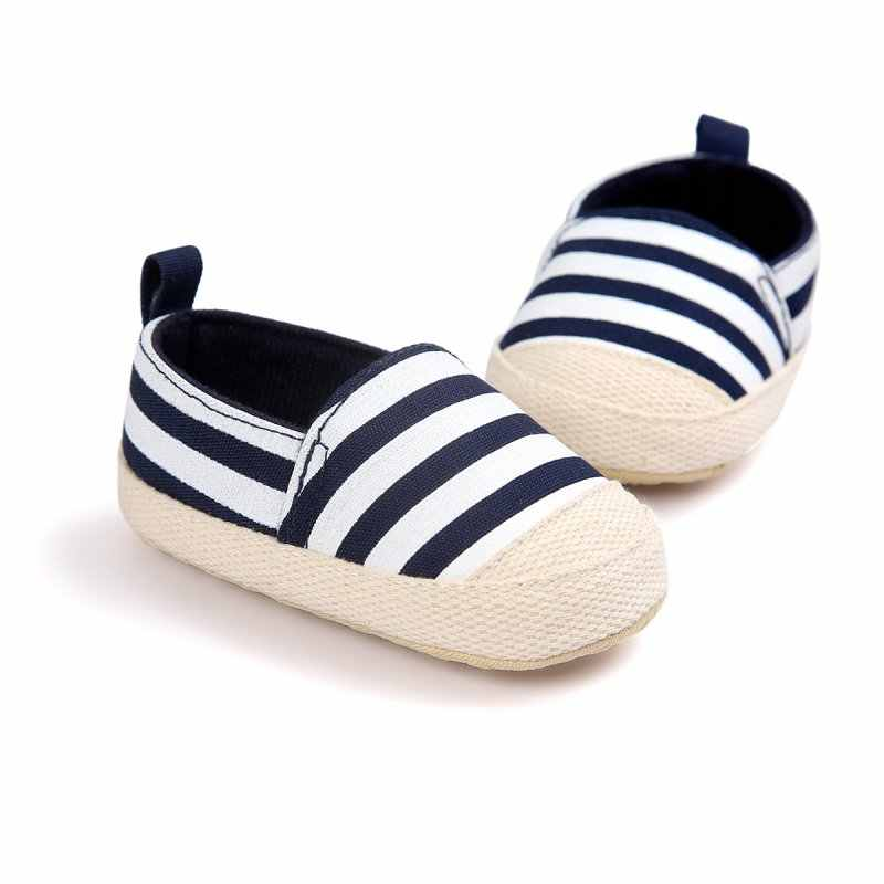 ab30d95e0 ... New Baby Toddler Shoes Striped First Walkers Canvas Soft Sole Infant  Sneakers Anti-slip Newborn ...