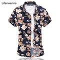 Новый Китайский Стиль Мужской Цветок Рубашка 2017 Жаркое Лето Мужской с коротким Рукавом Цветочные Рубашки Плюс Размер Повседневная Хлопчатобумажных Рубашек мужчины