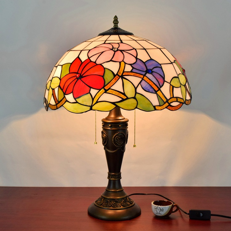 16 Inch Flesh Country Flowers Tiffany Table Lamp Country Style Stained Glass Lamp for Bedroom Bedside Lamp E27 110-240V