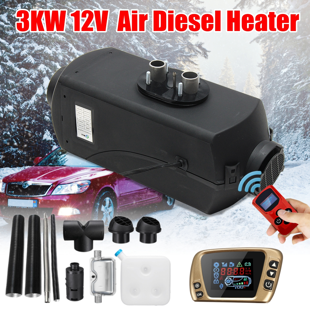 12 v 3KW Diesels Air Parking Aérien Chauffe Chauffage 3000 w LCD Commutateur Pour Bateaux Bus Voiture Remorque Chauffe-+ silencieux + télécommande