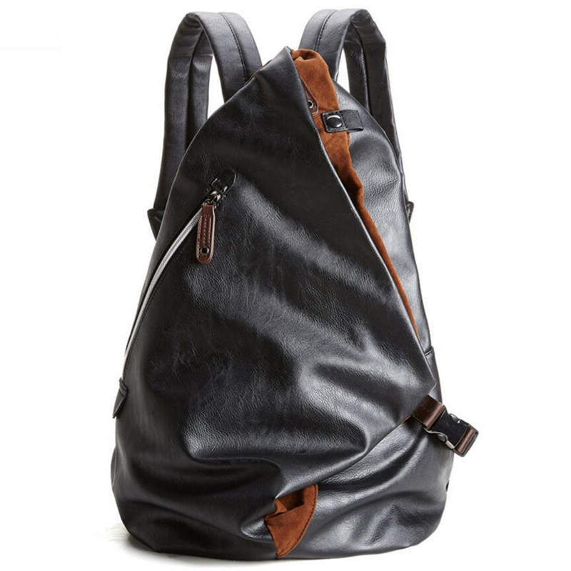 ФОТО Waterproof Backpack Men&Women Luxury PU Leather Vintage Backpack Leisure Male School Bags Black Day Blue Rucksack Mochila  J61