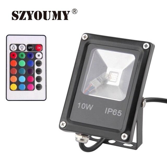 SZYOUMY RGB 10W 20W 30W 50W 100W Led Flood Lights Waterproof New Ultra-thin Led Floodlights 85-265V+Memory Remote Cotnrol