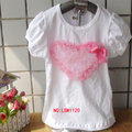 lovely tshirts short ruffles sleeve t-shirts girl  heart christmas shirts tees kids