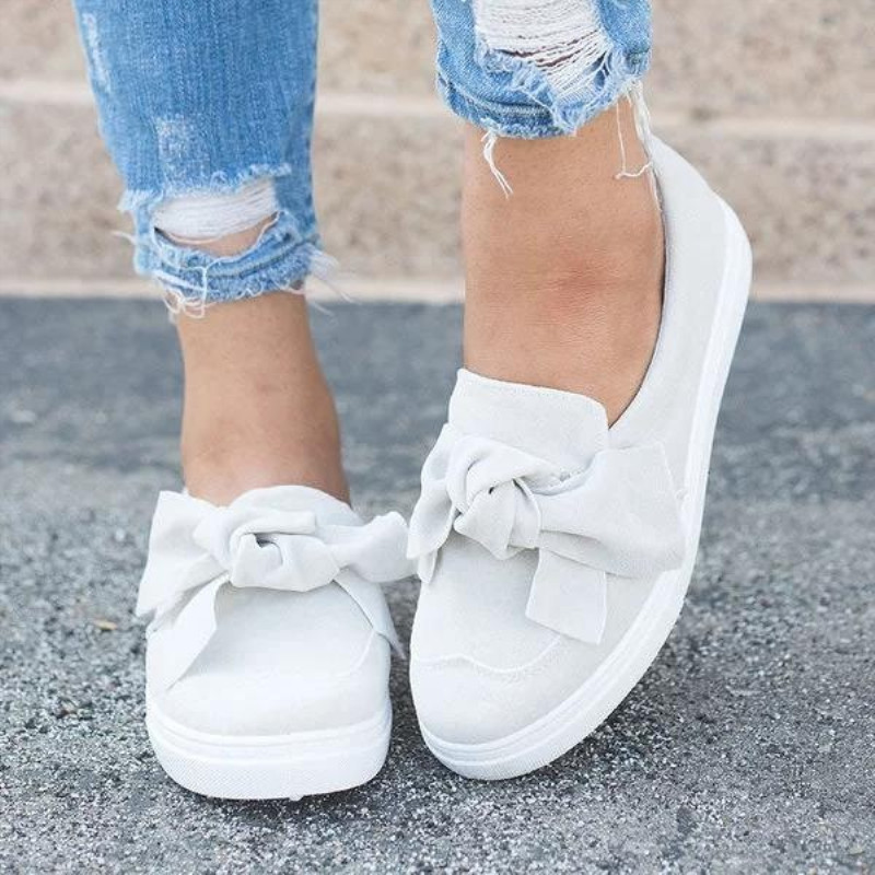 Women Moccasins Women's Flats   leather   Shoes Woman Bow Lady Loafers Slip On   Suede   White Shoes mocasines mujer Plus Size 36-43