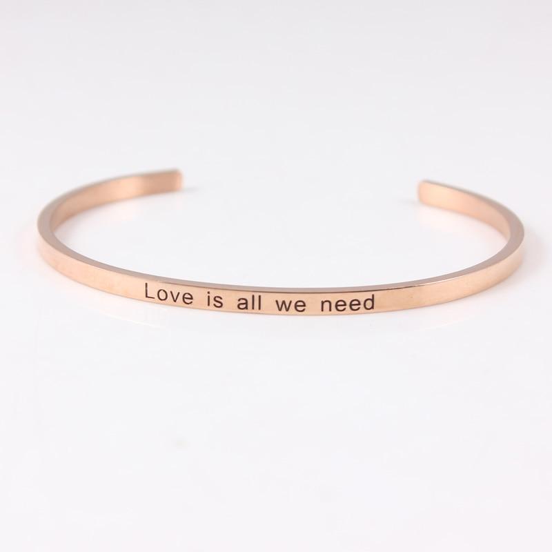 Or Rose acier inoxydable gravé amour est tout ce que nous avons besoin de citation inspirante Positive manchette Mantra Bracelet Bracelet