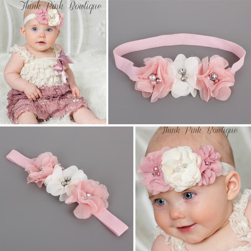 #60021 Korean hair accessories for baby girl beautiful headbands with flowers white pink flower diademas bebes ninas headbands