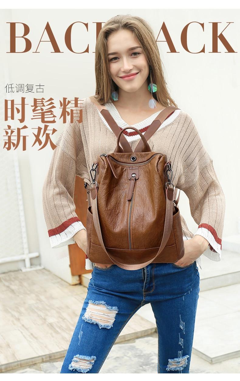 HTB1BrSDbtfvK1RjSszhq6AcGFXa4 Female backpack mochila feminina casual Multifunction Women Leather Backpack Female Shoulder Bag Sac A Dos Travel Back Pack