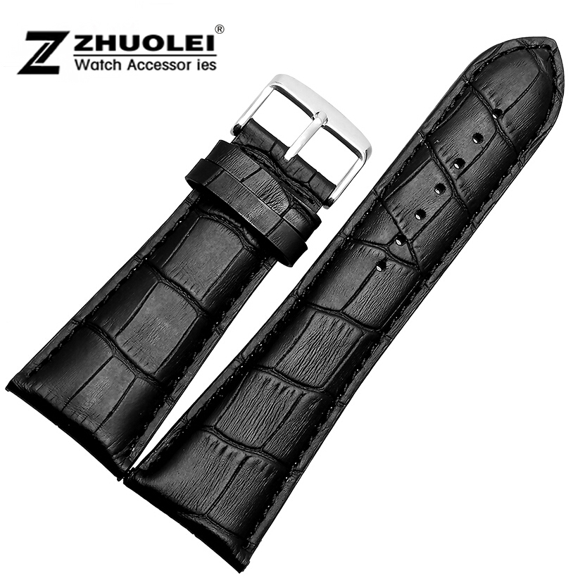 Watch strap 28mm Black Mens Alligator Genuine Leather Watch Strap Band bracelets free shipping цена
