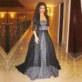 Мед Цяо Myriam Fares Знаменитости Vintage Платья 2016 Длинные Черный И Белый Плащ Элегантный Дубай Вечерние Платья Халат Де Вечер