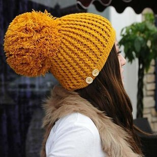 New Autumn Winter Cap Women Warm Woolen Knitted Fashion Hat For Girls Cap Woman hat Fur Cap Skullies GJ4699