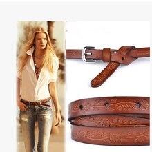 Cowhidethin ремень tieclasps Для женщин; натуральная кожа ремень для девочек/Дамская Pemehb универсальные модные резные ремень ремни для Для женщин
