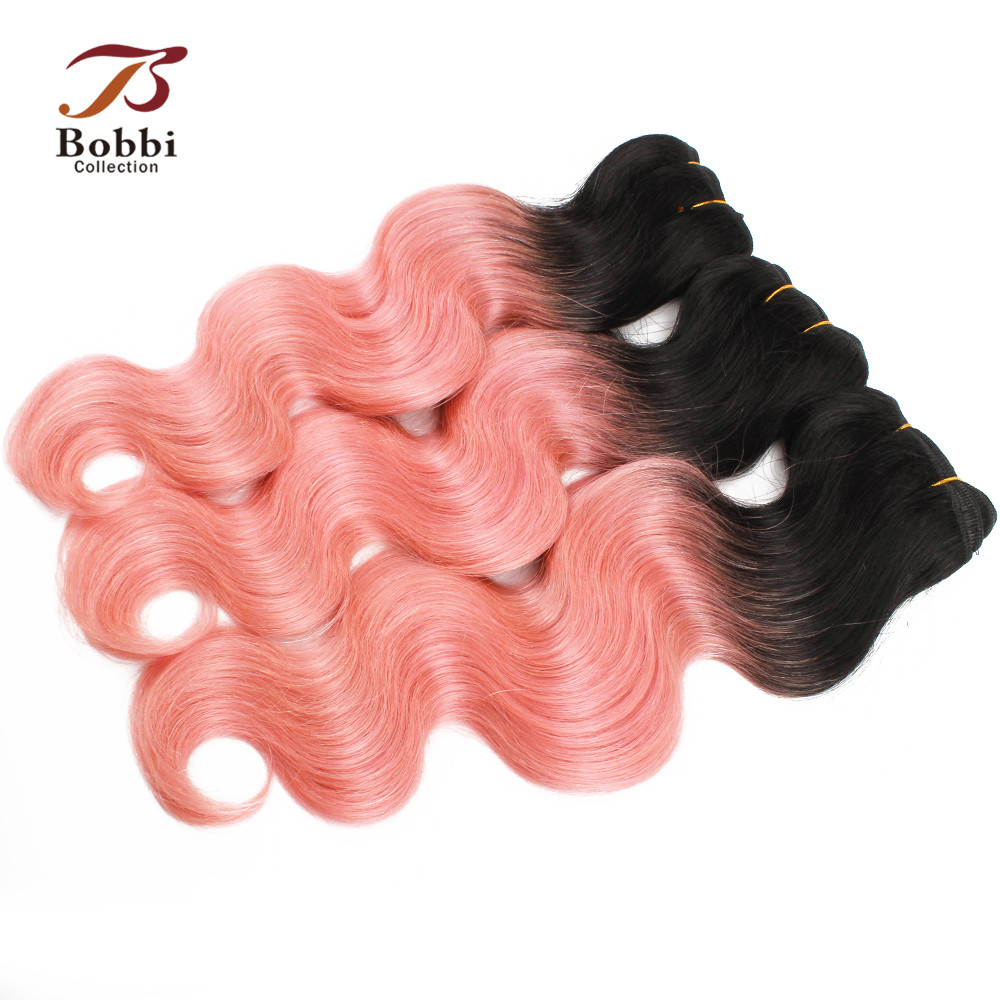 Bobbi Collection Brazilian Body Wave Ombre Hair Weave 2 3 Bundles Two Tone T 1B Pink