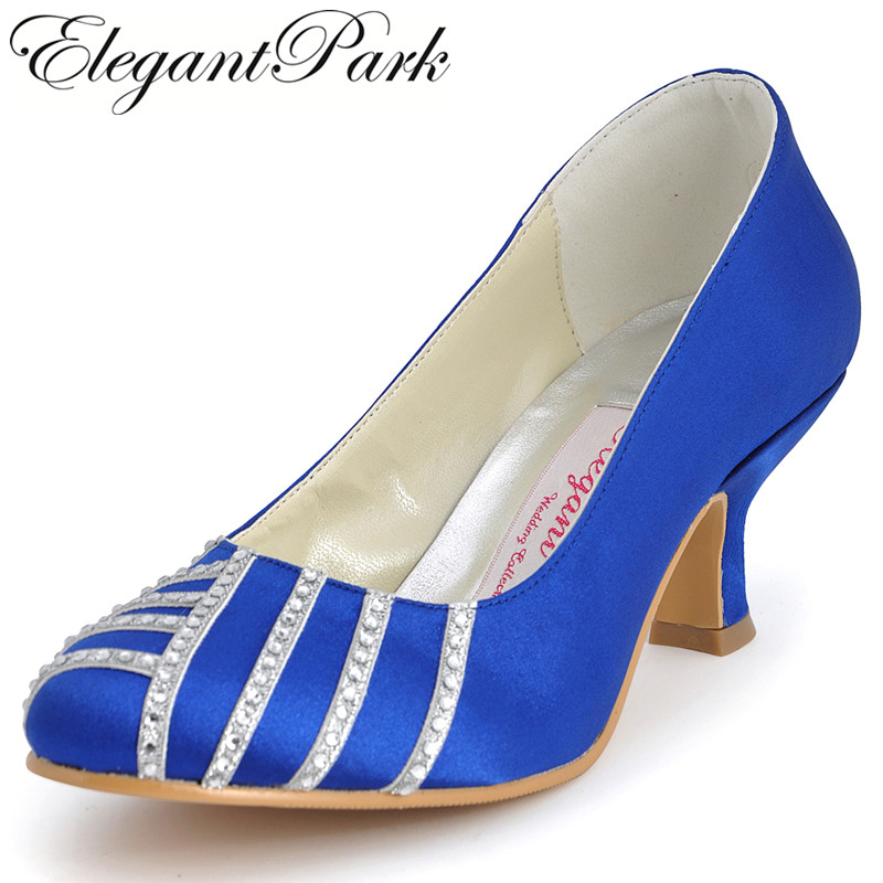 Woman Shoes med heel round toe rhinestone satin lady bride bridesmaid evening party dress wedding bridal pumps EP11007 beautiful fashion blue wedding shoes for woman rhinestone bridal dress shoes lady high heel luxurious party prom shoes