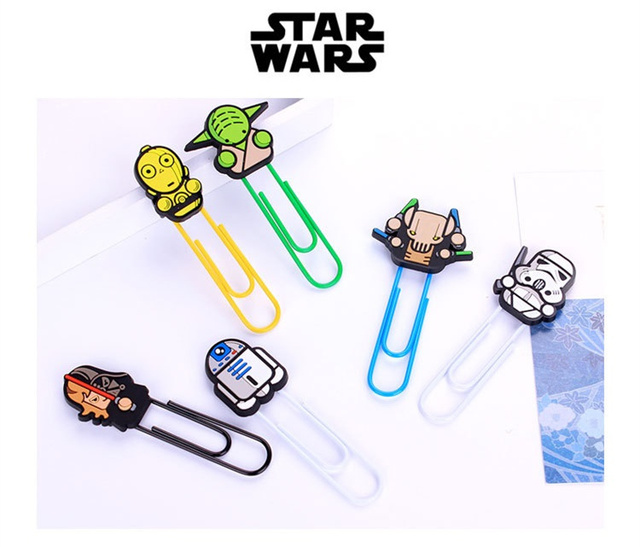 6 pcs/Lot Star wars Bookmarks Cartoon paper clip holder stationery office School supplies marcapaginas marcador de livro 6866