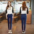 Осенние высокой талией джинсы женские брюки карандаш тонкий черный плюс размер эластичные брюки