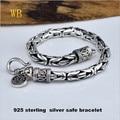 Wholesale Genuine 100% Real Pure 925 Sterling Silver thick Men bracelet .safe Bracelet . free shipping men fine jewelry HYB04