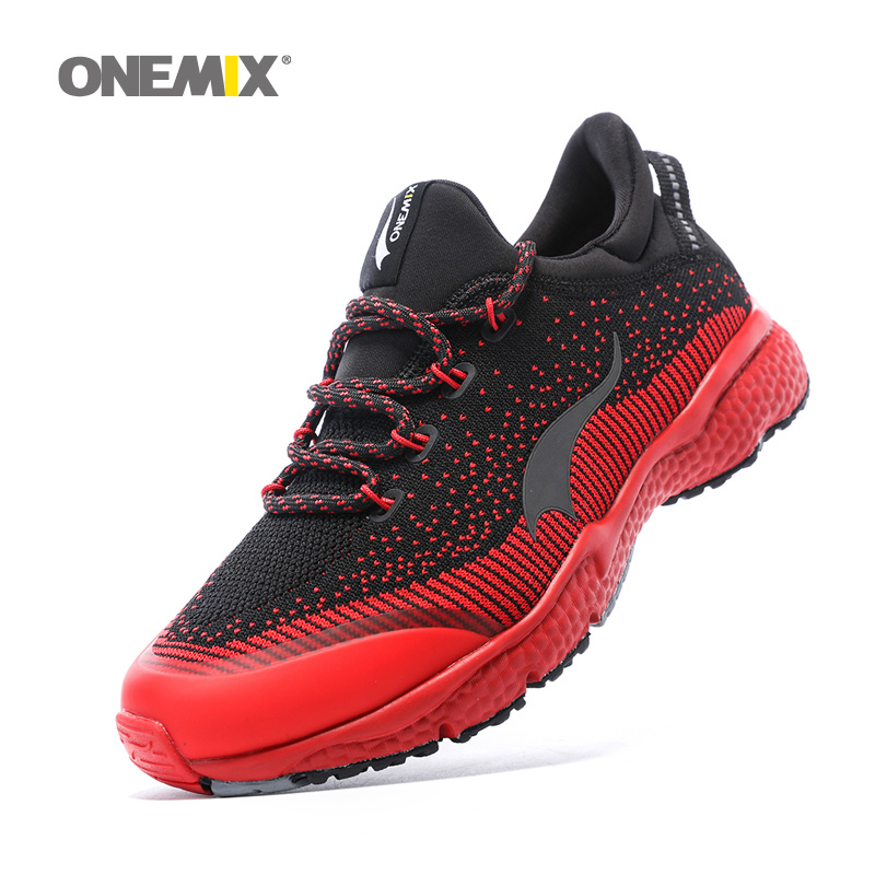 ONEMIX Man Running Shoes For Men Olympic Athletic Trainers Black Red Zapatillas Sports Shoe Outdoor Walking Sneakers Free Ship