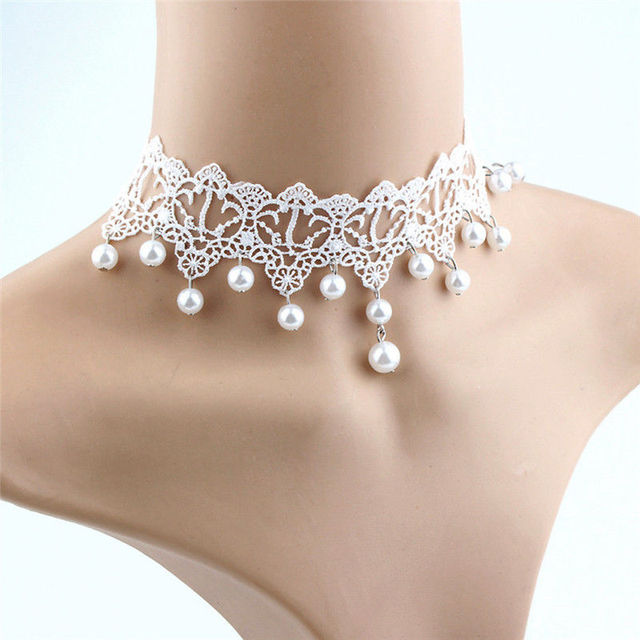 Новая модная элегантная винтажная имитация жемчуга Белое кружево массивные ожерелья-чокер Свадебные украшения для женщин Свадебные