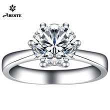 HOT Classic Solitaire 6 Prongs 0.2 ct Round Cut Genuine Certified Diamond Bague 18K White Gold Ring for Women Wedding Engagement auleeze solitaire 0 20cttw round cut natural diamond couple rings 18k yellow gold men and women engagement wedding ring